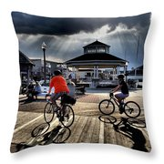 Bike The Boardwalk At Rehoboth Beach  Delaware, 2015 Throw Pillow