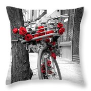 Bike With Red Roses Throw Pillow