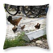 Biker Chicks Throw Pillow