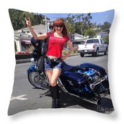 Biker Girl. Model Sofia Metal Queen Throw Pillow