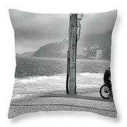 Biker In Ipanema Throw Pillow