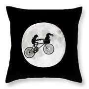 Biker Of The Moon Throw Pillow