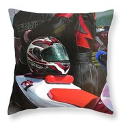 Bikers At The Horseshoe Pass Throw Pillow