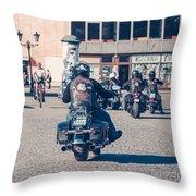 Bikers In Gdansk Throw Pillow