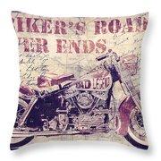 Biker's Road Never Ends Throw Pillow