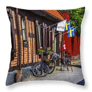 Bikes And Flags Throw Pillow