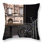 Bikes And University Throw Pillow