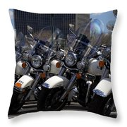 Bikes In Blue Throw Pillow