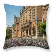 Bikes In Front Of Dutch University Throw Pillow