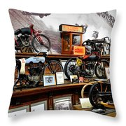 Bikes On A Wall Throw Pillow