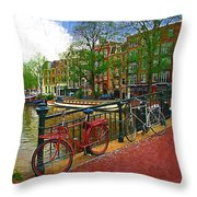Bikes On The Bridge Throw Pillow