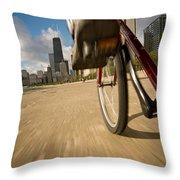 Biking Chicagos Lakefront Throw Pillow
