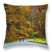Biking On The Parkway Throw Pillow