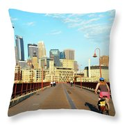 Biking On The Stone Arch Bridge Throw Pillow