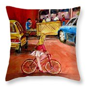 Biking To The Orange Julep Throw Pillow
