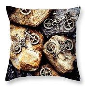 Biking Trail Scene Throw Pillow