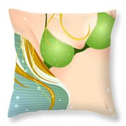Bikini Blonde Throw Pillow