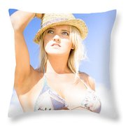 Bikini Lady Against Blue Sky Background Throw Pillow