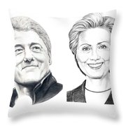 Bill And Hillary Throw Pillow