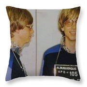 Bill Gates Mug Shot Horizontal Color Throw Pillow