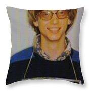 Bill Gates Mug Shot Vertical Color Throw Pillow