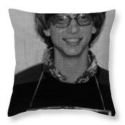 Bill Gates Mug Shot Vertical Black And White Throw Pillow