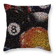 Billiard Ball Bottle Cap Mosaic Throw Pillow