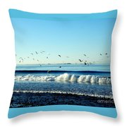 Billowing White Waves And Seagulls Throw Pillow