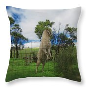 Billy Goat At The Lookout Post Throw Pillow