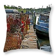 Billys Nets And Sinking Work Boat Throw Pillow