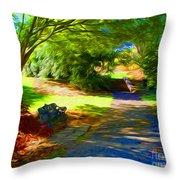 Biltmore Mansion Walking Path Throw Pillow