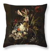 Bindweed And Chrysanthemums Throw Pillow