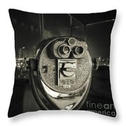 Binocular In New York City, Image In Grunge And Retro Style. Throw Pillow