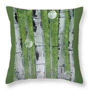 Birch - Green 1 Throw Pillow by Jacqueline Athmann
