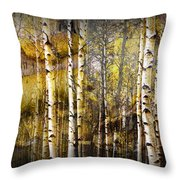 Birch Bark And Trees Abstract Throw Pillow