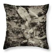 Birch Bark Detail Monotone Img_6361 Throw Pillow