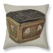 Birch Bark Sewing Basket Throw Pillow