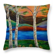 Birch By The Lake Throw Pillow