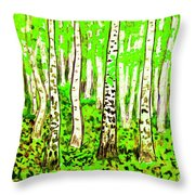 Birch Forest, Painting Throw Pillow