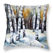 The White Of Winter Birch Throw Pillow