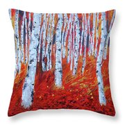Birch In Gold Throw Pillow