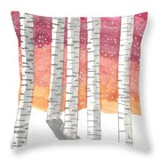 Birch In The Snow Throw Pillow