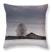 Birch Tree And An Old Barn House Throw Pillow