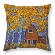 Birch Trees And Barn Throw Pillow
