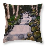 Birch Trees By The Brook Throw Pillow