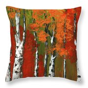 Birch Trees In An Autumn Forest Throw Pillow