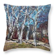 Birch Trees Next Door Throw Pillow