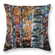 Birch Trees Oil Painting With Palette Knife  Throw Pillow
