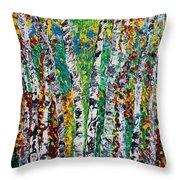 Birches And Scrub Throw Pillow