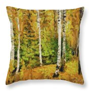 Birches And Spruces Throw Pillow